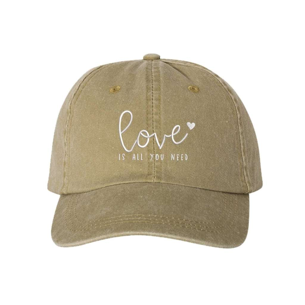 Khaki washed hat with love is all you need embroidered in white- DSY Lifestyle