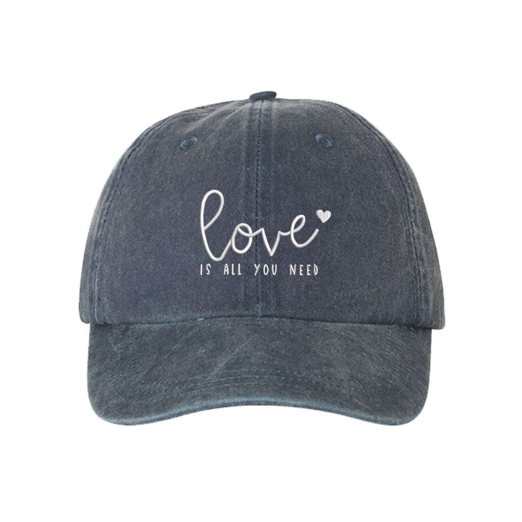 Navy washed hat with love is all you need embroidered in white- DSY Lifestyle