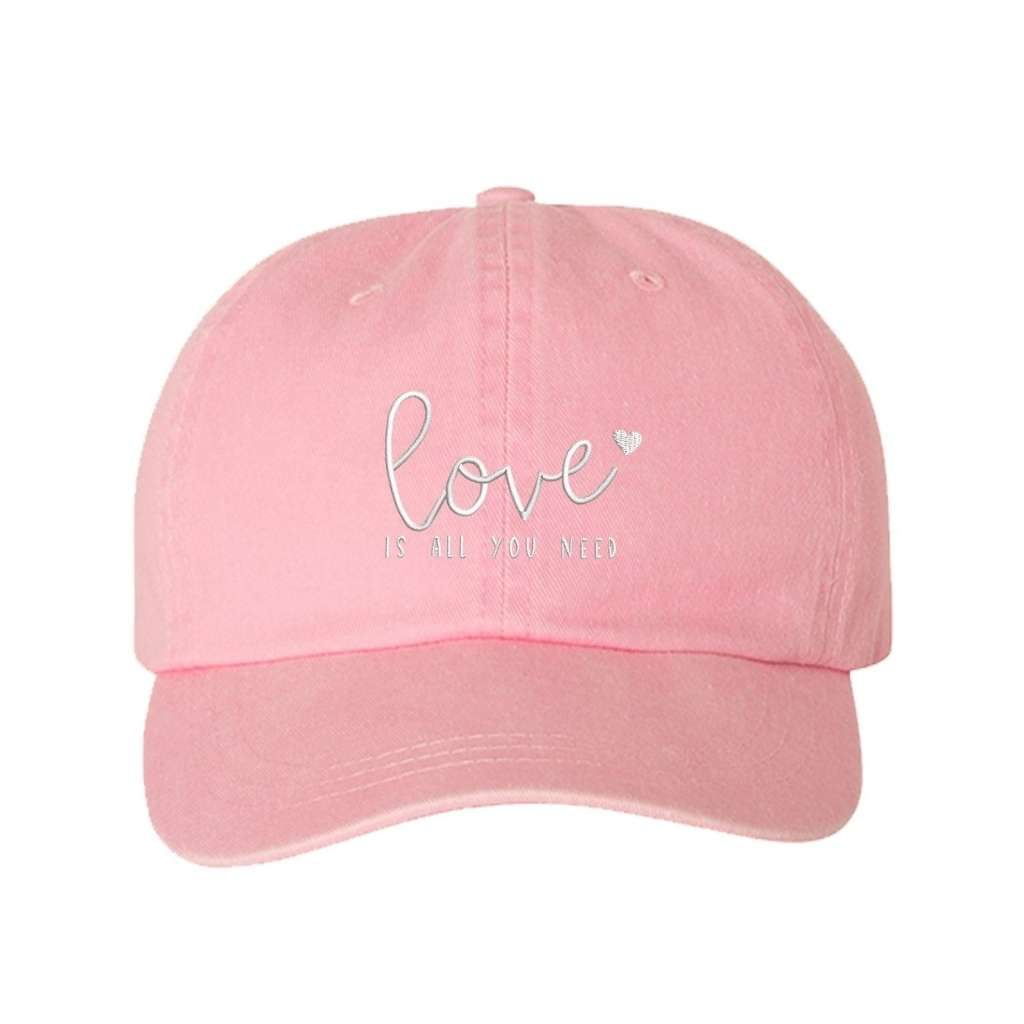 Light Pink washed hat with love is all you need embroidered in white- DSY Lifestyle