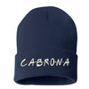 Cabrona Friends Font Cuffed Beanie, Cuffed Beanie Cap, Cabrona Embroidery, Embroidered Beanie Cap, Friends Font, Custom Embroidery, DSY Lifestyle Beanie, Navy Cuffed Beanie, Made in LA