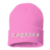 Cabrona Friends Font Cuffed Beanie, Cuffed Beanie Cap, Cabrona Embroidery, Embroidered Beanie Cap, Friends Font, Custom Embroidery, DSY Lifestyle Beanie, Pink Cuffed Beanie, Made in LA