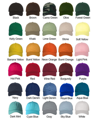 California Map Dad Hat Color Chart- Black, Brown, Camo Green, Olive, Forest Green, Kelly Green, Khaki, Stone, Soft Yellow, Banana Yellow, Burnt Orange, Light Pink, Hot Pink, Red, Wine Red, Burgundy, Purple, Navy, Dark Denim, Light Denim, Royal Blue, Aqua Blue, Dark Mint, Cyan Blue, Gray, Sky Blue, White