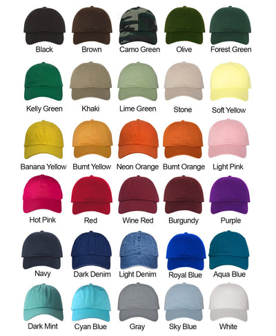 Born a Sinner Crown Hat Color Chart- Black, Brown, Camo Green, Olive, Forest Green, Kelly Green, Khaki, Stone, Soft Yellow, Banana Yellow, Burnt Orange, Light Pink, Hot Pink, Red, Wine Red, Burgundy, Purple, Navy, Dark Denim, Light Denim, Royal Blue, Aqua Blue, Dark Mint, Cyan Blue, Gray, Sky Blue, White
