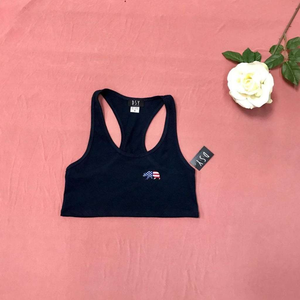 USA Bear Cropped Tank Top, Embroidered Tank Top, Crop Tank Top, Fourth of July, Memorial Day Shirt. Patriotic Tank Top, Printed Top, Navy Tank Top, DSY Lifestyle, Made in LA