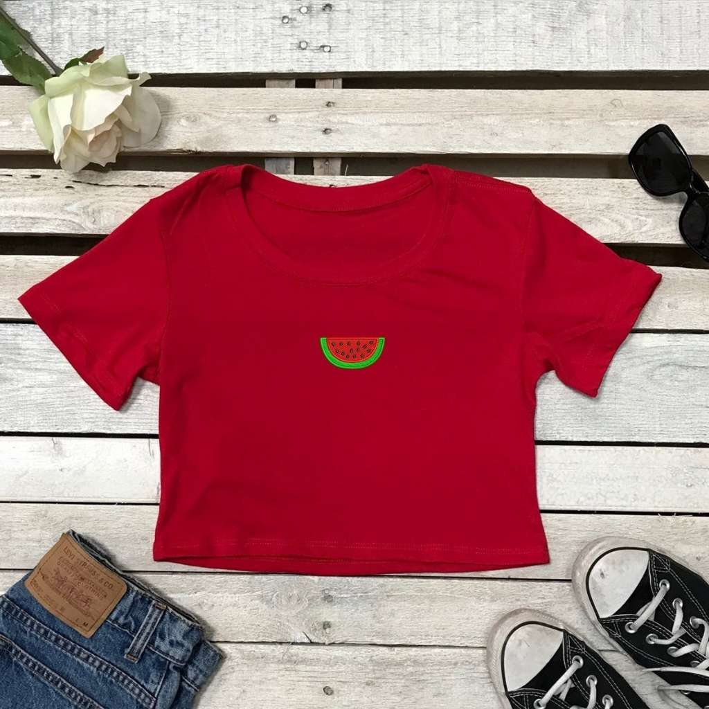 Watermelon Cropped Tee, Embroidered Cropped T-Shirt, Watermelon Top, Summer Shirt, Cropped Tee, Red Crop Top, DSY Lifestyle Crop Tees, Made in LA