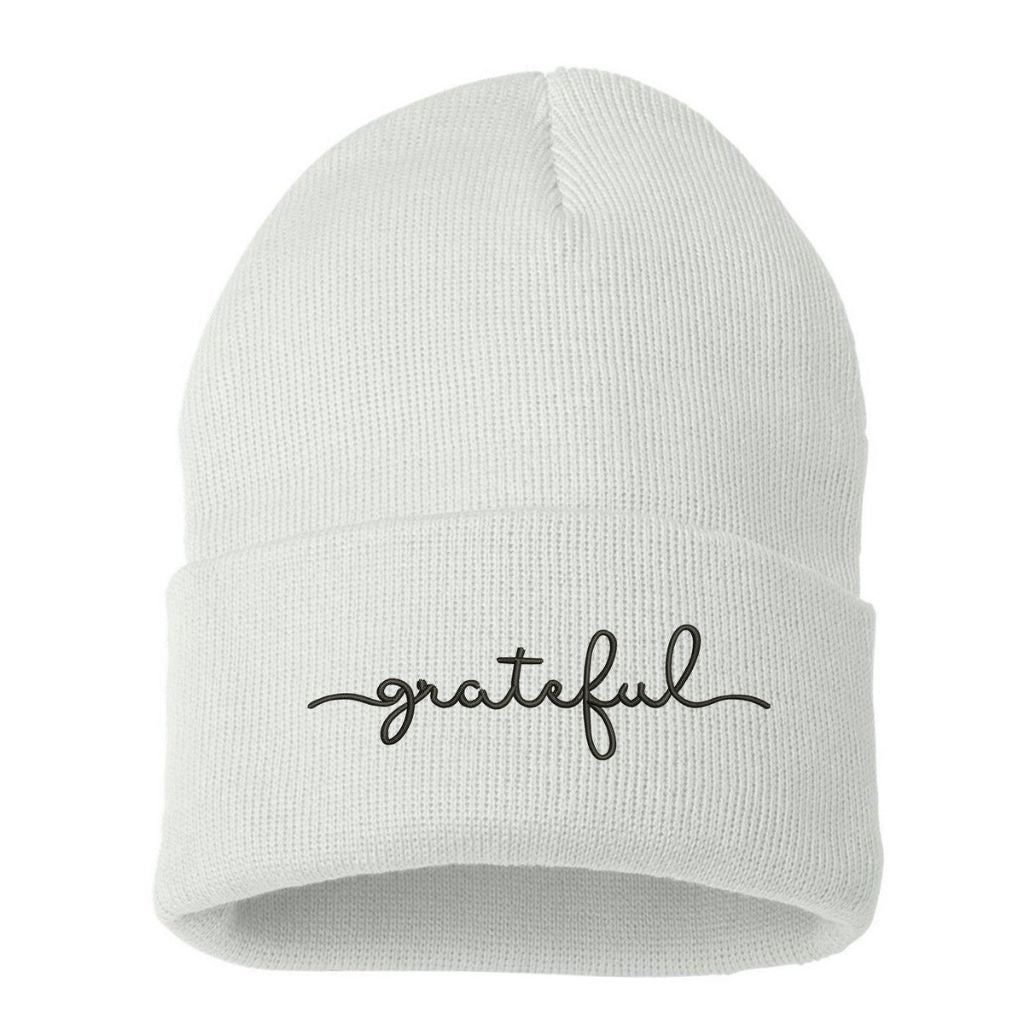 White beanie embroidered with grateful in black thread - DSY Lifestyle