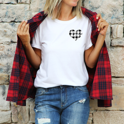 Unisex White Plaid Love Heart T-Shirt , White T-Shirt, Love Heart, Heart, Printed Shirt, Scoop Neck Shirt, Crewneck, Valentines Day Shirt, DSY Lifestyle Shirt, Made in LA