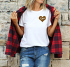 Unisex Love Heart T-Shirt , White T-Shirt, Love Heart, Cheetah Print, Heart, Printed Shirt, Scoop Neck Shirt, Crewneck, Valentines Day Shirt, DSY Lifestyle Shirt, Made in LA