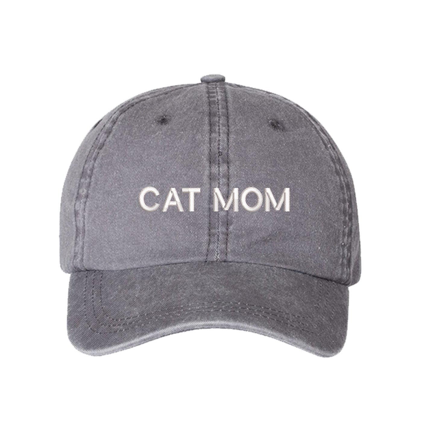 Cat Mom Washed Baseball Hat, Cat Mom Hat, Embroidered Dad Hat, Cat Mom, Cat Lover Hats, Cat Hats, DSY Lifestyle Hat, Gray Washed Dad Hat