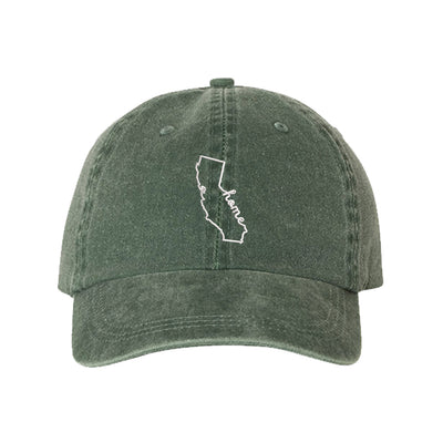 Cali Home Embroidered Unisex Washed Dad Hat, California Dad Hat, Washed Dad Hat, California Hat, DSY Lifestyle Dad Hat, Green Washed Dad Hat
