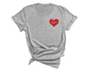 Unisex Red Love Heart T-Shirt , Gray T-Shirt, Love Heart, Heart, Printed Shirt, Scoop Neck Shirt, Crewneck, Valentines Day Shirt, DSY Lifestyle Shirt, Made in LA