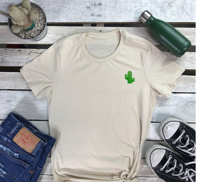 Embroidered Cactus T-Shirt , Cactus t-shirt, Scoop Neck Shirt, Crewneck, Embroidered Shirt, Natural Shirt, DSY Lifestyle Shirt, Made in LA