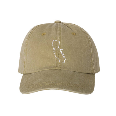 Cali Home Embroidered Unisex Washed Dad Hat, California Dad Hat, Washed Dad Hat, California Hat, DSY Lifestyle Dad Hat, Khaki Washed Dad Hat