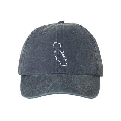 Cali Home Outline Embroidered Unisex Washed Dad Hat, California Dad Hat, Washed Dad Hat, California Hat, DSY Lifestyle Dad Hat, Navy Washed Dad Hat