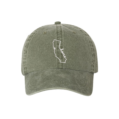 Cali Home Embroidered Unisex Washed Dad Hat, California Dad Hat, Washed Dad Hat, California Hat, DSY Lifestyle Dad Hat, Olive Washed Dad Hat
