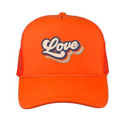 neon orange trucker hat wit love in the front - DSY Lifestyle