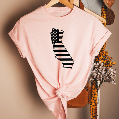 California USA Flag Unisex T-Shirt , Pink T-Shirt, California , Printed Shirt, Scoop Neck Shirt, Crewneck, California USA Flag, DSY Lifestyle Shirt, Made in LA