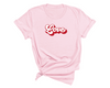 Love Text T-Shirt , Light Pink T-Shirt, Love, Printed Shirt, Scoop Neck Shirt, Crewneck, Vintage Logo, Valentines Day Shirt, DSY Lifestyle Shirt, Made in LA