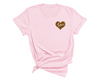 Unisex Love Heart T-Shirt , Light Pink T-Shirt, Love Heart, Cheetah Print, Heart, Printed Shirt, Scoop Neck Shirt, Crewneck, Valentines Day Shirt, DSY Lifestyle Shirt, Made in LA