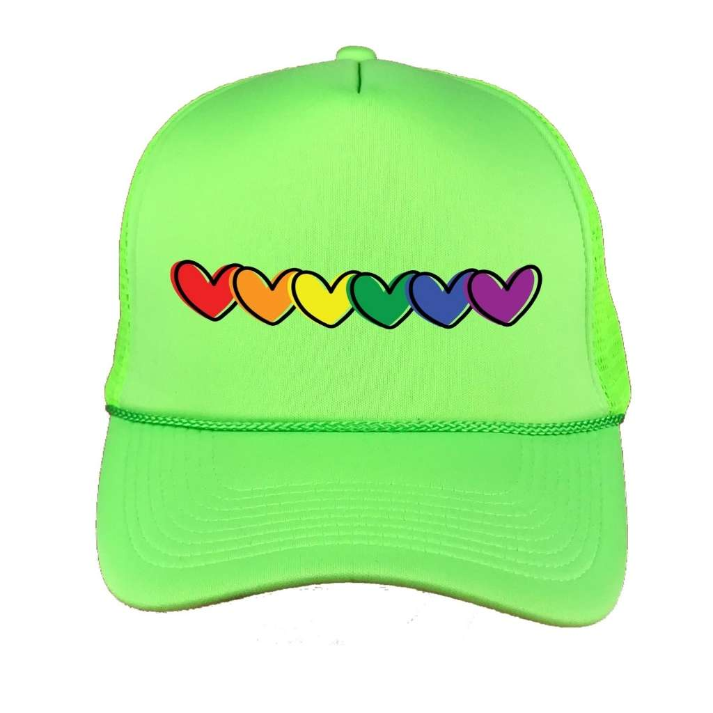 Rainbow Hearts Foam Trucker Hat in Black - DSY Lifestyle