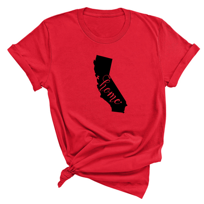 California Home Unisex T-Shirt , Red T-Shirt, California , Printed Shirt, Scoop Neck Shirt, Crewneck, California Home , DSY Lifestyle Shirt, Made in LA