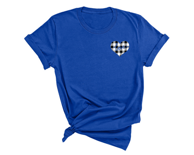 Unisex White Plaid Love Heart T-Shirt , Royal Blue T-Shirt, Love Heart, Heart, Printed Shirt, Scoop Neck Shirt, Crewneck, Valentines Day Shirt, DSY Lifestyle Shirt, Made in LA