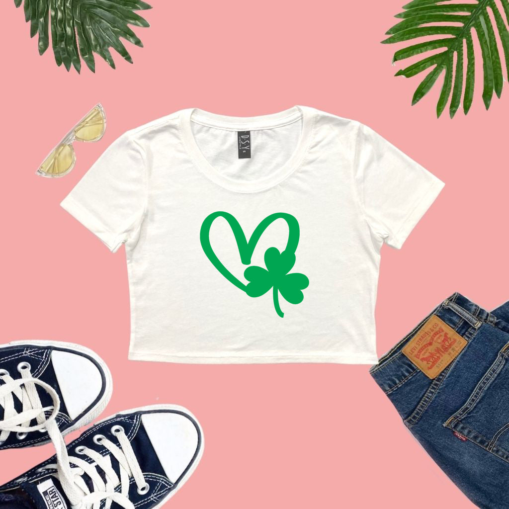 White Cropped Top with a green shamrock and heart printed on the front - DSY Lifestyle