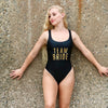 Bride & Team Bride One-Piece Swimsuit, Holographic Bathing Suit, Printed Bathing Suit, Gold Printing, Bride Swimsuit, Team Bride Swimsuit, DSY Lifestyle Swimwear, Black Swimsuit, White Swimsuit, Made in LA