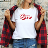 Love Text T-Shirt , White T-Shirt, Love, Printed Shirt, Scoop Neck Shirt, Crewneck, Vintage Logo, Valentines Day Shirt, DSY Lifestyle Shirt, Made in LA