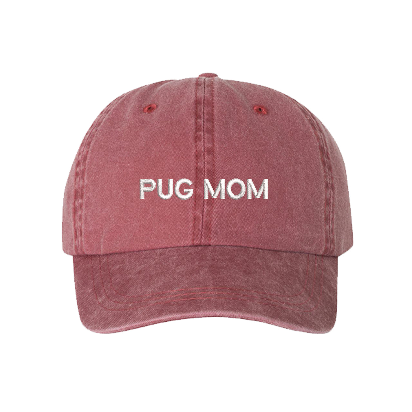 Pug Mom Washed Baseball Hat, Pug Mom Dad Hat, Dog Parent Hats, Embroidered Dad hat, Animal Lover Gifts, Pug Mother, Mothers Day Gift, Pug Mama, DSY Lifestyle Dad Hats, Wine Washed Baseball Hat