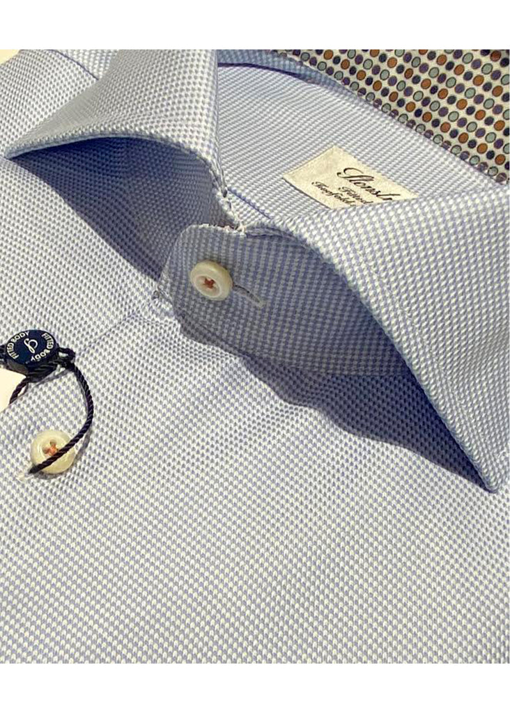Stenstroms Light Blue Houndstooth Fitted Body Shirt w/ Contrast - Jordan Lash Charleston