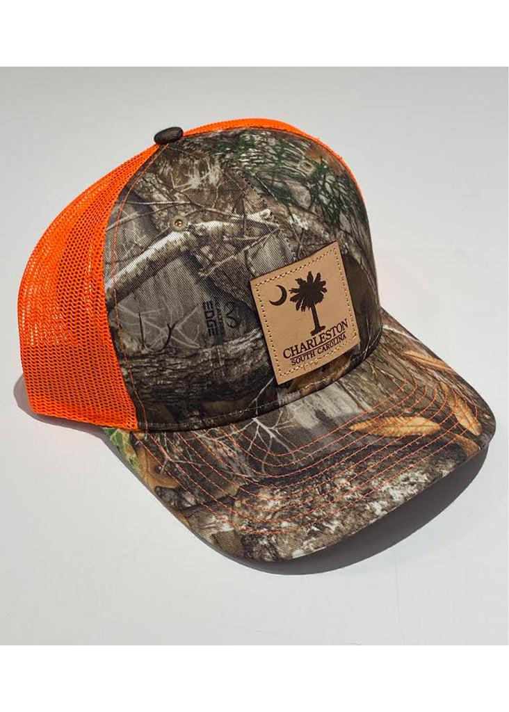 Jordan Lash Charleston Trucker Hat with Palmetto and Crescent Moon Leather Patch | Realtree Edge and Neon Orange - Jordan Lash Charleston