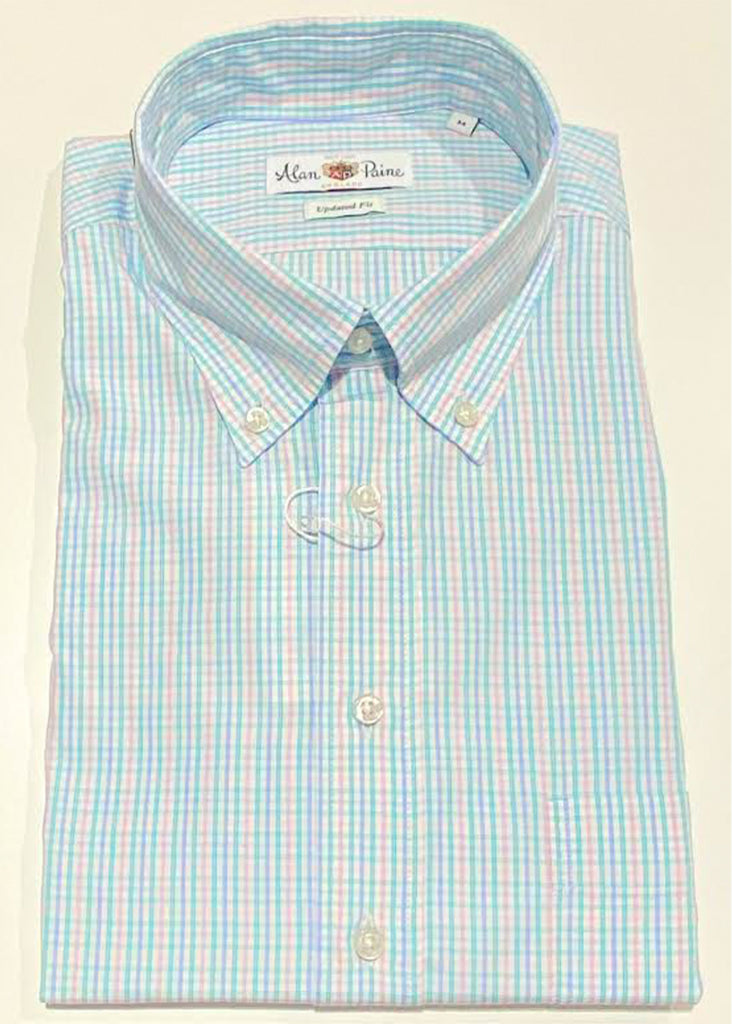 Alan Paine Goldthorpe Shirt | Purple, Pink and Mint Check - Jordan Lash Charleston