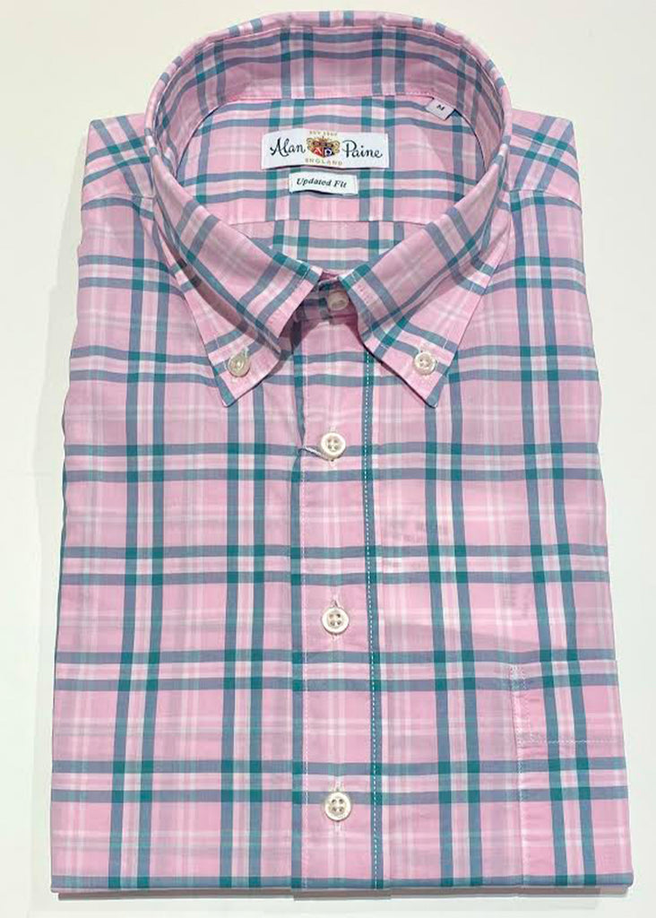 Alan Paine Goldthorpe Shirt | Pink and Green Plaid - Jordan Lash Charleston