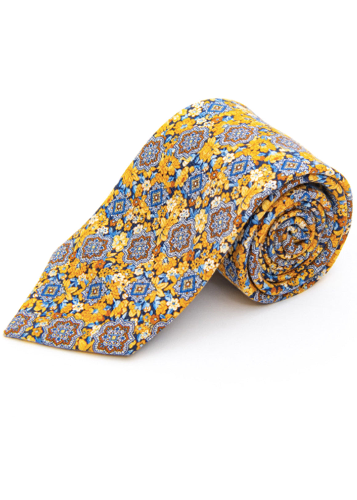 Edward Medallion On Floral Silk Tie | Harvest Gold