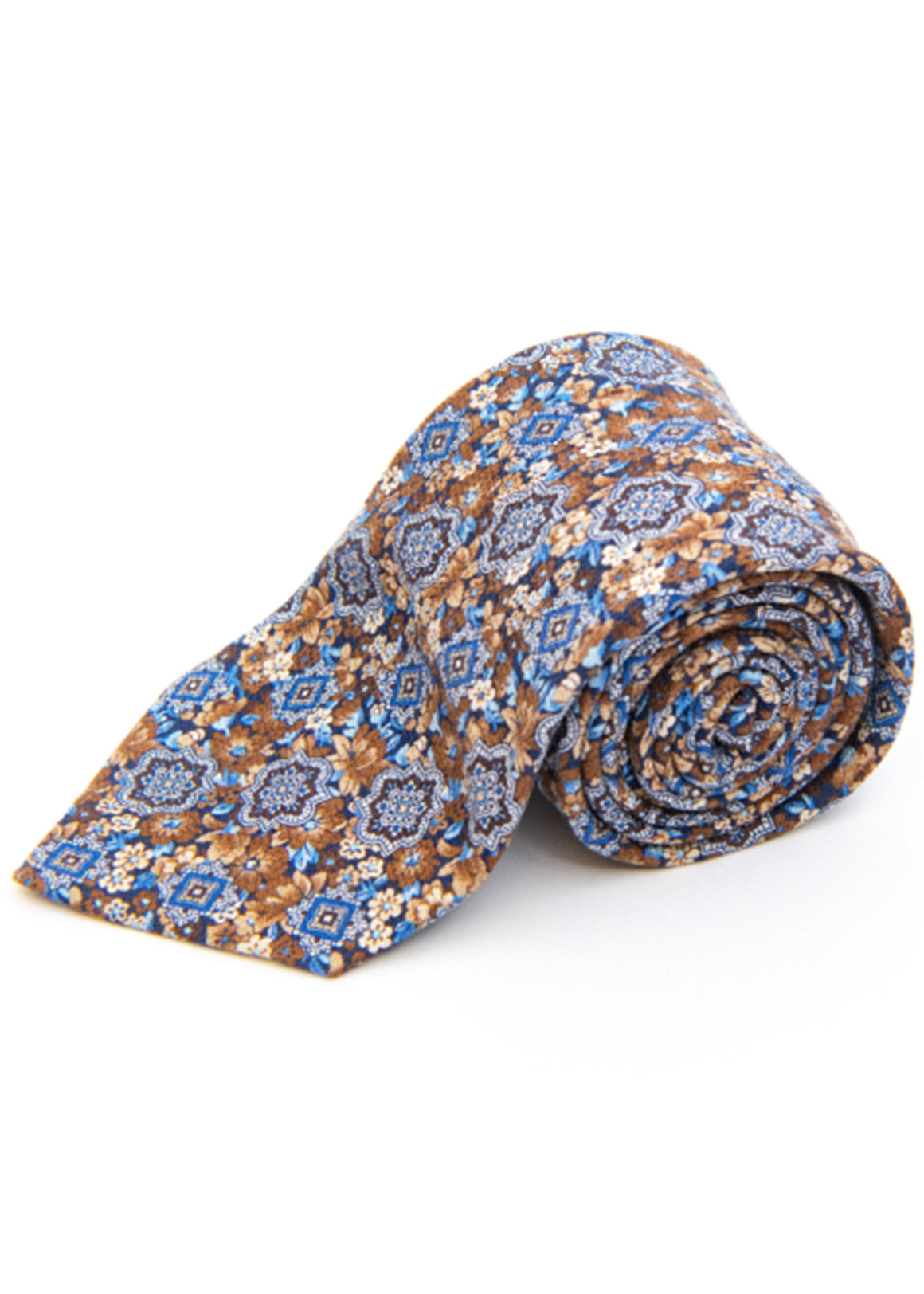 Edward Medallion On Floral Silk Tie | Brown