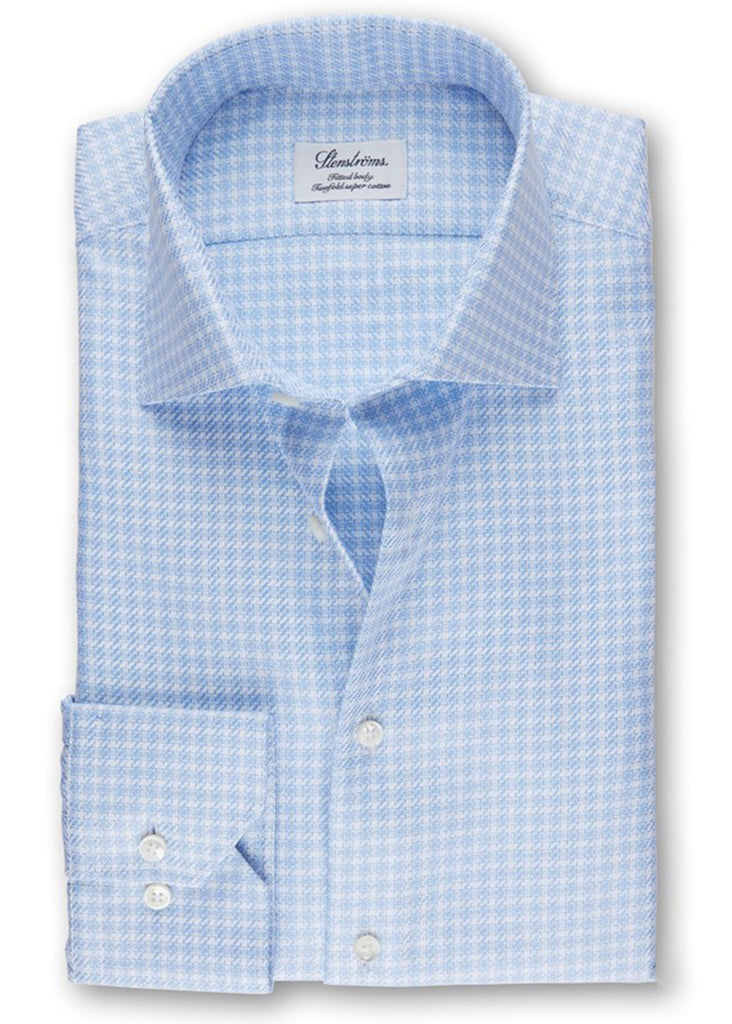 Stenstroms Light Blue Micro Patterned Fitted Body Shirt - Jordan Lash Charleston