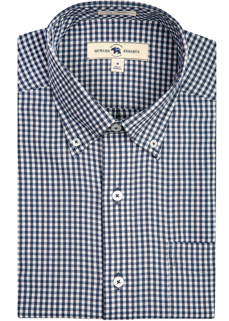 Onward Reserve Tailored Fit Performance Twill Shirt | Navy Gingham - Jordan Lash Charleston
