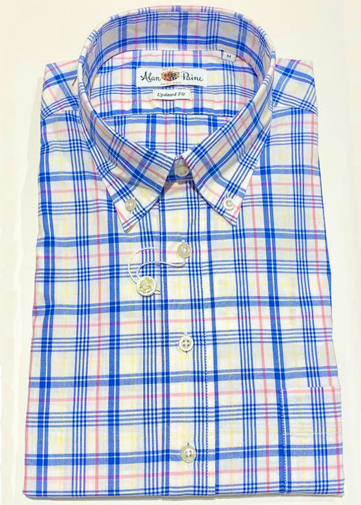 Alan Paine Goldthorpe Shirt | Blue, Pink and Yellow Plaid - Jordan Lash Charleston