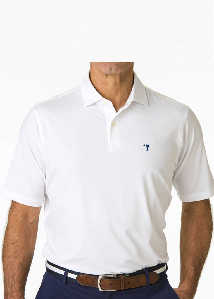 Fairway & Greene USA Solid Tech Jersey Polo w/ Palmetto and USA Embroidery | White - Jordan Lash Charleston