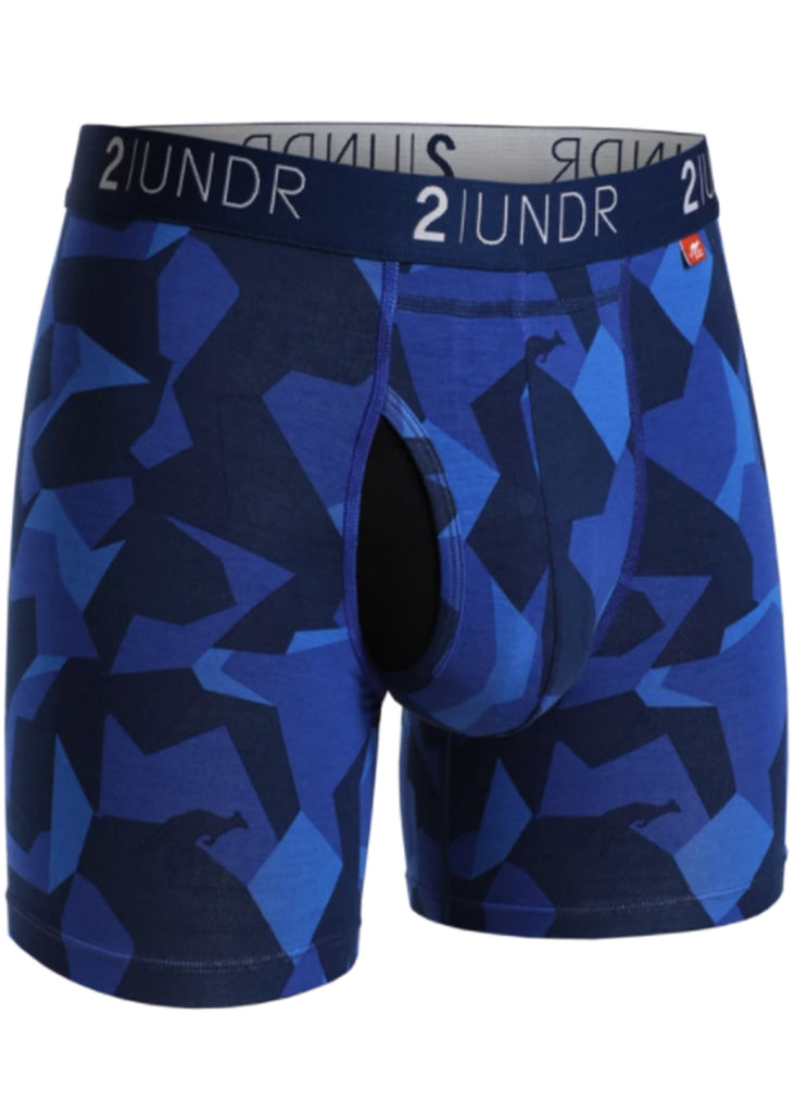 2 UNDR Swing Shift 6 Inch Boxer Brief | Blue Camo - Jordan Lash Charleston