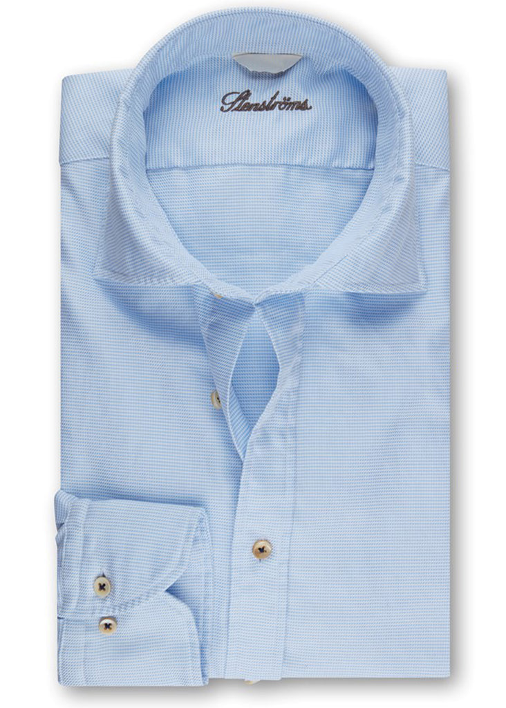 Stenstroms Blue and White Casual Fitted Body Shirt - Jordan Lash Charleston