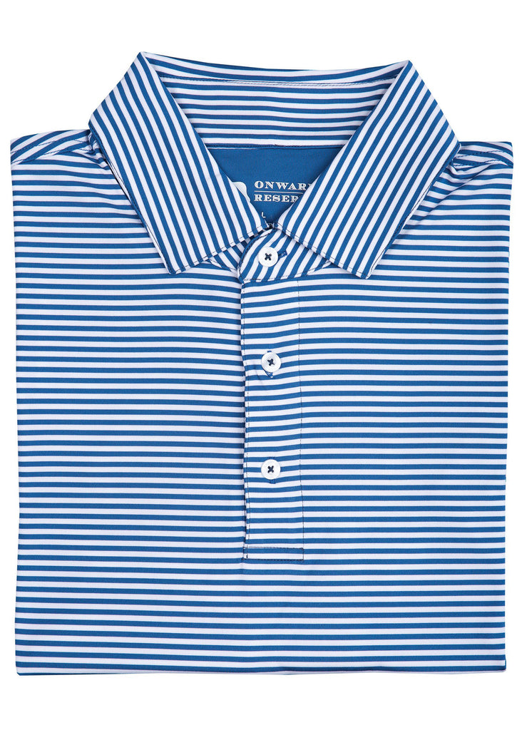 Onward Reserve Pro Stripe Performance Polo | Delft Blue and White - Jordan Lash Charleston