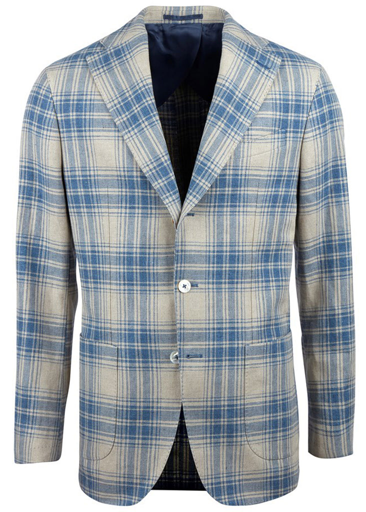 Stenstroms Blue Checked Cotton Linen Blazer - Jordan Lash Charleston
