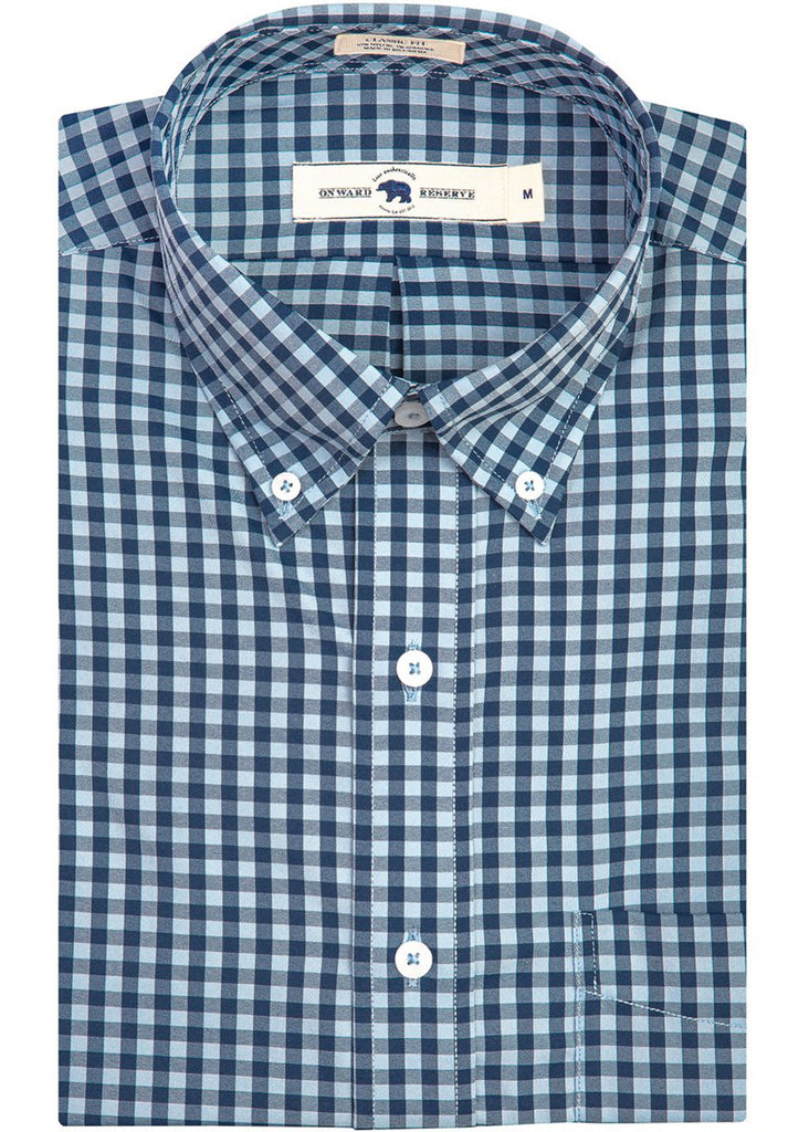 Onward Reserve Classic Fit Performance Shirt | Sky and Navy Gingham - Jordan Lash Charleston