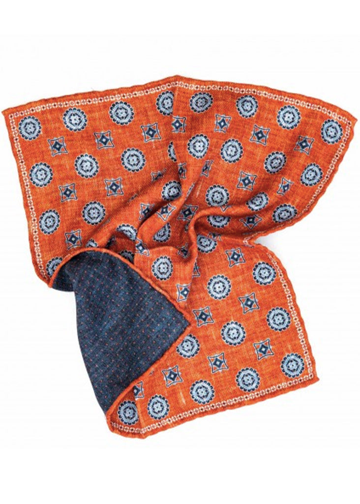 Edward Armah Medallions Print Reversible Pocket Square | Rust and Navy - Jordan Lash Charleston