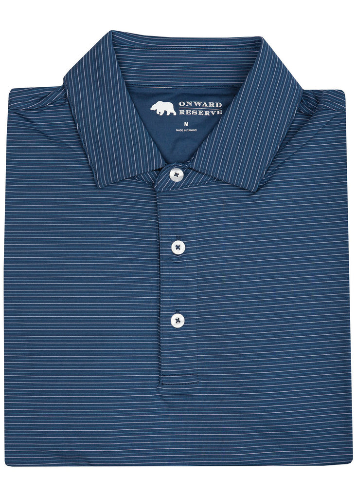 Onward Reserve Tour Stripe Performance Polo | Blue and Navy - Jordan Lash Charleston
