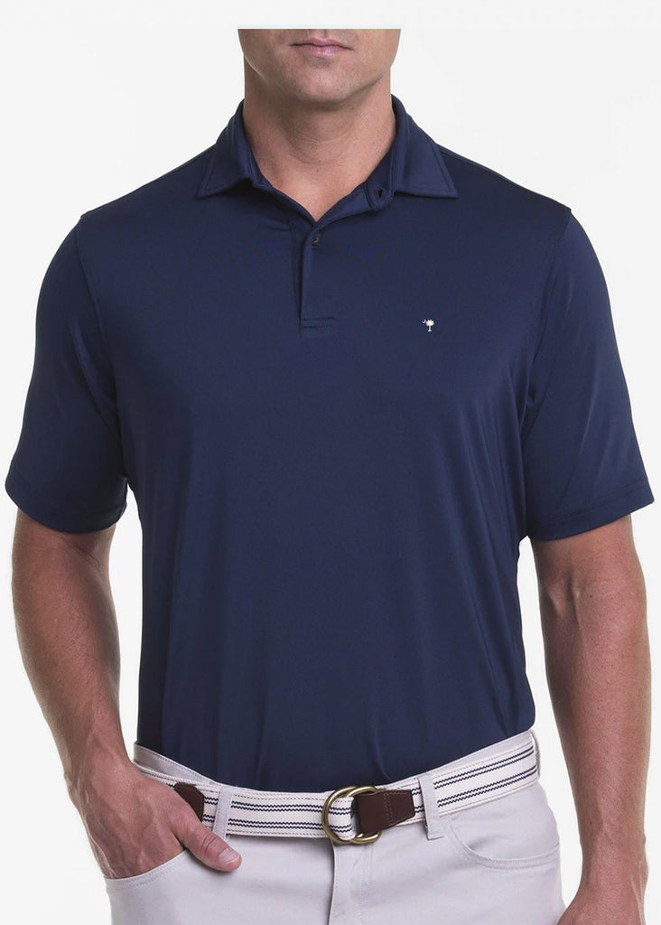 Fairway & Greene USA Solid Tech Jersey Polo w/ Palmetto and USA Embroidery | Marine - Jordan Lash Charleston