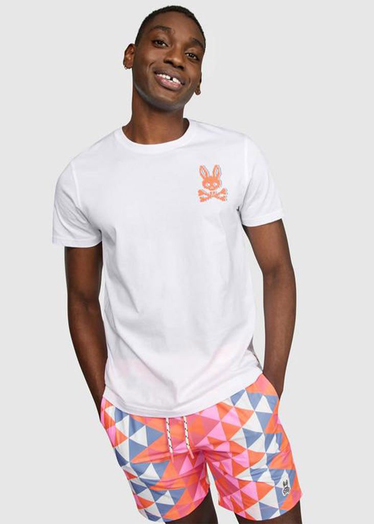 Psycho Bunny Mens Hatton 2 Sided Graphic Tee | White - Jordan Lash Charleston