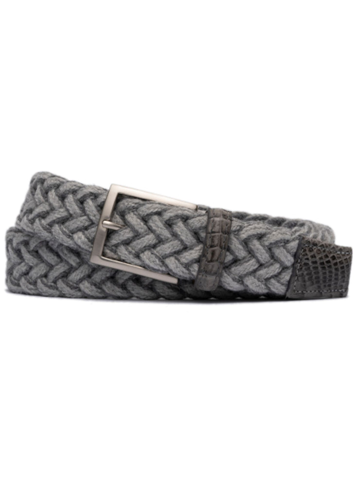 "W. Kleinberg 1 3/8"" Cloth Weave Belt w/ Matte Caiman Croc Tabs 